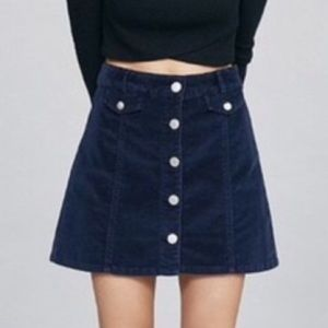 Urban Outfitters Navy Corduroy Button Up Skirt